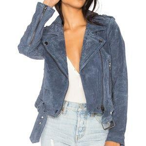 BLANKNYC Suede Moto Jacket, Slate Blue, Small